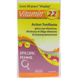 INELDEA - Vitamin'22 Action tonifiante Spécial Femme (60 gélules)