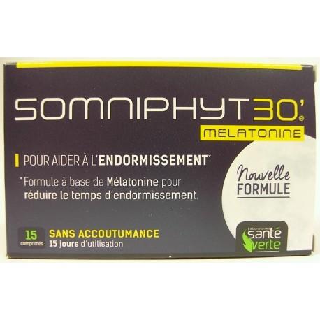 Santé Verte - Somniphyt 30 Mélatonine. Réveils nocturnes et endormissement (15 comprimés)