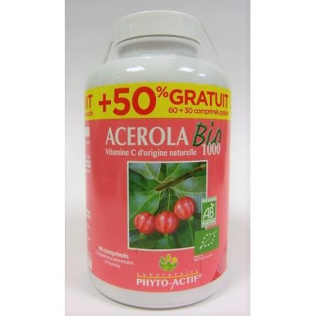 PHYTO-ACTIF - ACEROLA Bio 1000 (60 comprimés + 30 gratuits)