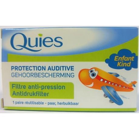 Quiès - Protection auditive . Bouchons d'oreilles Filtre anti-pression Enfant (1 paire réutilisable)