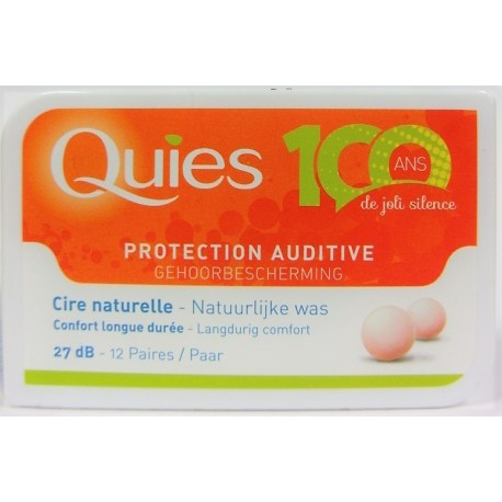 Quiès - Protection auditive Cire naturelle Confort longue durée (12 paires)