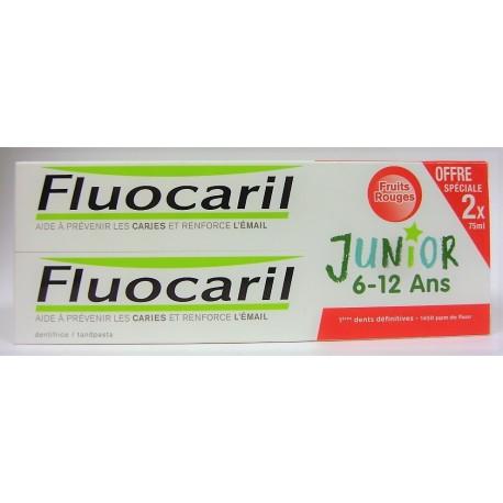 Fluocaril - Prévention des caries Junior 6-12 ans Fruits rouges (lot de 2)