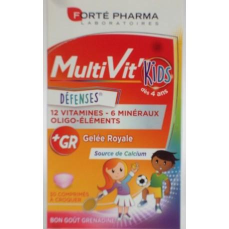 Forté Pharma - MultiVit'Kids Défenses 12 vitamines, 6 minéraux, oligo-éléments
